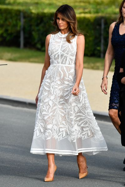 Melania Trump wears Elie Saab to attend a cocktail party for NATO summit in Brussels, July 2018