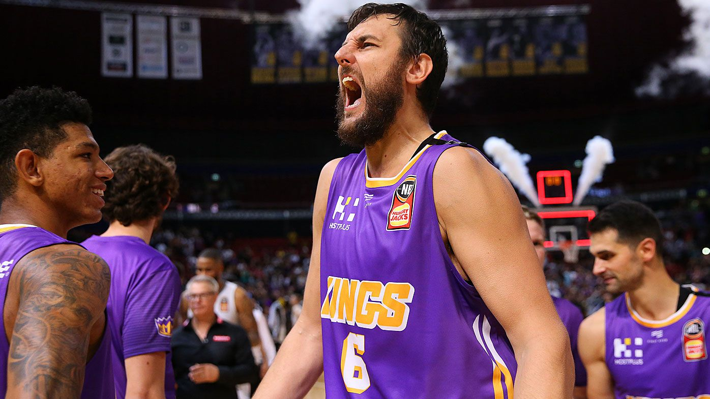 Andrew Bogut of the Kings celebrates victory during game three of the NBL Semi Final Series