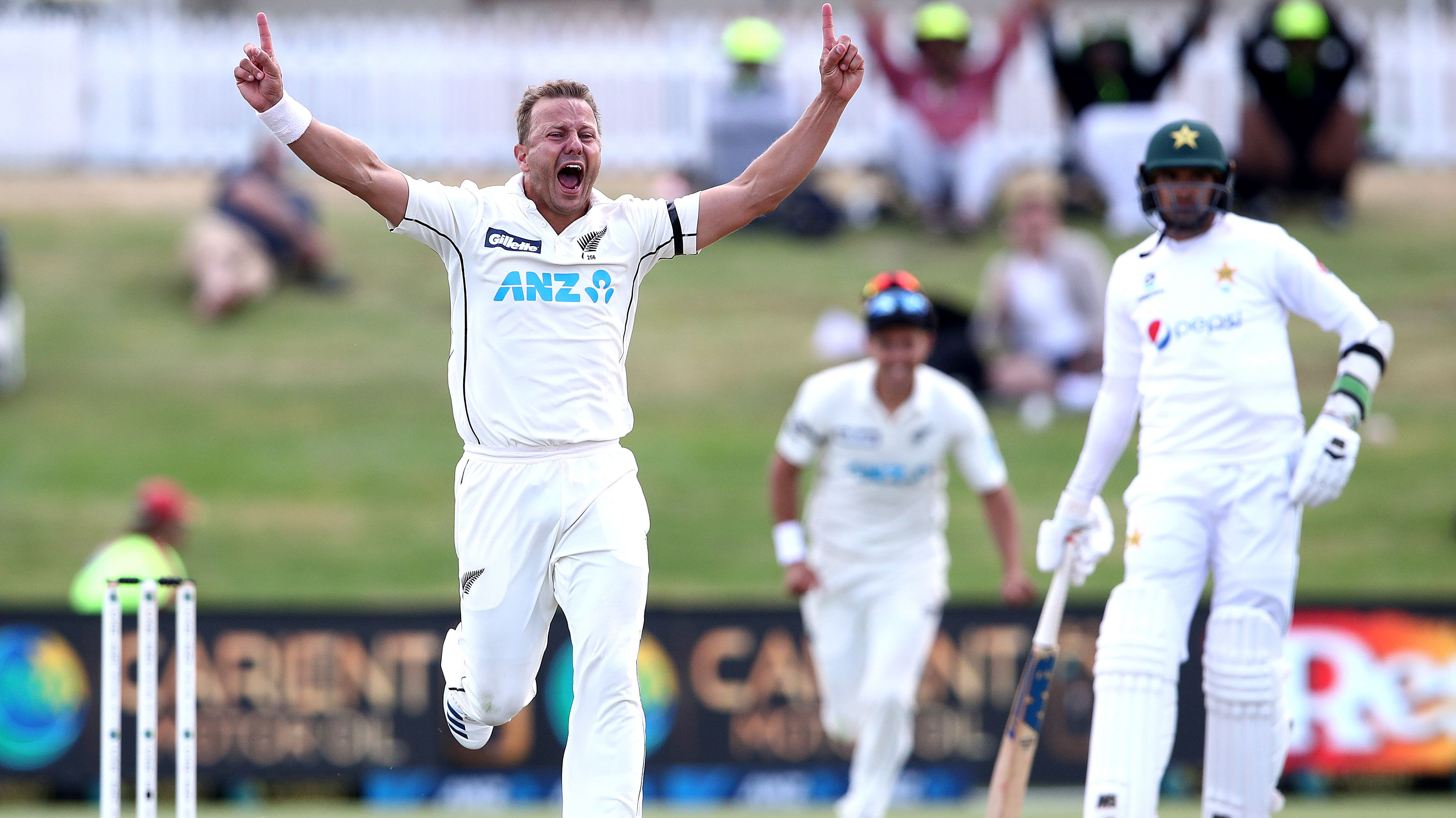 Neil Wagner of New Zealand celebrates his wicket of Faheem Ashraf  of Pakistan.