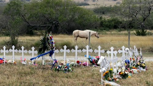 A horse roams in a pasture near a makeshift memorial for the victims. (AAP)