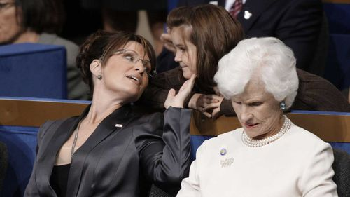 Sarah Palin sits beside Roberta McCain at the 2008 Republican National Convention.