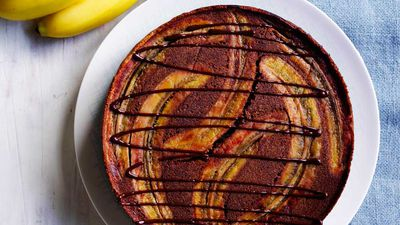 Upside down banana chocolate cake