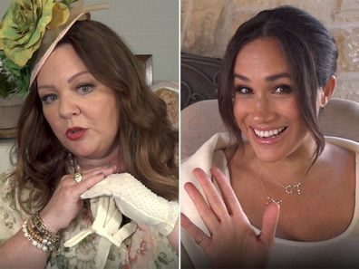 Meghan Markle and Melissa McCarthy in the duchess' 40th birthday video