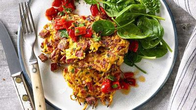 """Recipe:<a href=""""http://kitchen.nine.com.au/2016/06/16/11/22/shredded-beef-sweet-potato-and-herb-fritters-with-capsicum-relish"""" target=""""_top"""">Shredded beef, sweet potato and herb fritters with capsicum relish</a>"""
