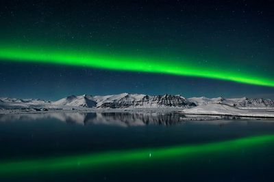 <strong>Northern Lights over Jokulsarlon by Giles Rocholl</strong>