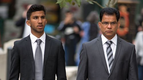 Jacintha Saldanha's husband Benedict Barboza (right), with their son Junal, arriving at the Royal Courts of Justice in London for the second day of the inquest into her death. (AAP)