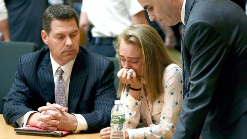 Michelle Carter cried in court as she was found guilty earlier this year. (AAP)