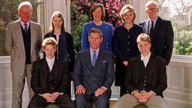 From left to right; (back row) Byran Organ, Lady Sarah Chatto, Lady Vestey, Mrs Bartholomew and Gerald Ward, (front row) Prince Harry, Prince Charles and Prince William, during the confirmation of Prince Harry at Eton at the school chapel