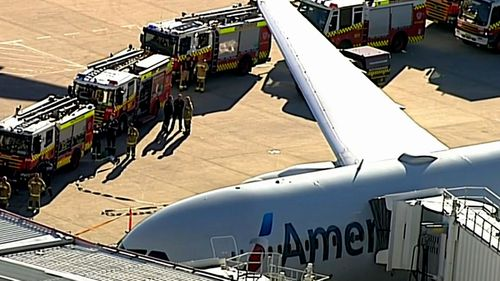 Fire crews at the Sydney Airport runway incident. (Twitter).
