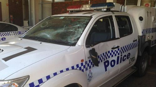 A police vehicle was damaged in an assault in Western Australia. (9NEWS)