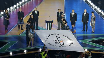 The Commonwealth Games flag was officially handed over to the Gold Coast organising committee today. (AAP)