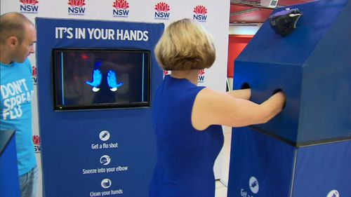"""UV """"germ detectors"""" will be on show at major train stations to reinforce the importance of regularly washing your hands. (9NEWS)"""