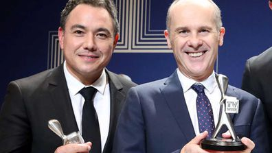 Sam Pang (right) pictured with host Tom Gleisner (left) from Have You Been Paying Attention.