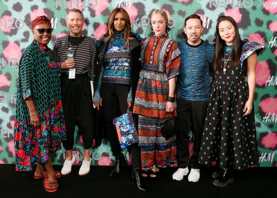 Bethann Hardison, Jean-Paul Goude, Iman, Chloe Sevigny, Humberto Leon and Carol Lim at H&M x Kenzo fashion show directed by Jean-Paul Goude