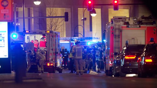 A large emergency response has been launched at the scene of the Berlin Christmas market crash. (AAP)