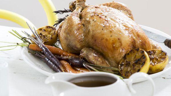 Mum's roast chicken with autumn vegetables