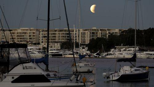 The partial lunar eclipse above Sydney.