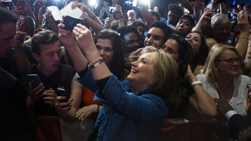 Hillary Clinton with supporters in West Palm Beach, Florida. (AAP)