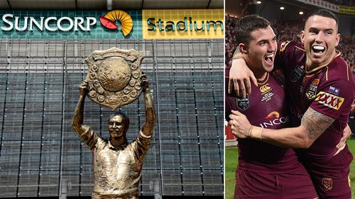 Suncorp Stadium (left), and Queensland Maroons players celebrate a win at the stadium. (AAP)