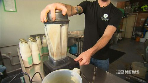 The milk is made from blending hemp seeds, filtered water, salt and date paste (9NEWS)