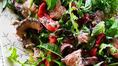 Beef and chilli salad with anchovy and caper dressing