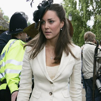Kate Middleton attends a society wedding, June 2005