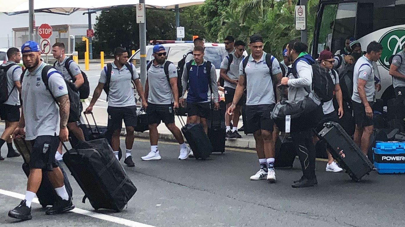 The New Zealand Warriors arrive at Gold Coast Airport for their departure.