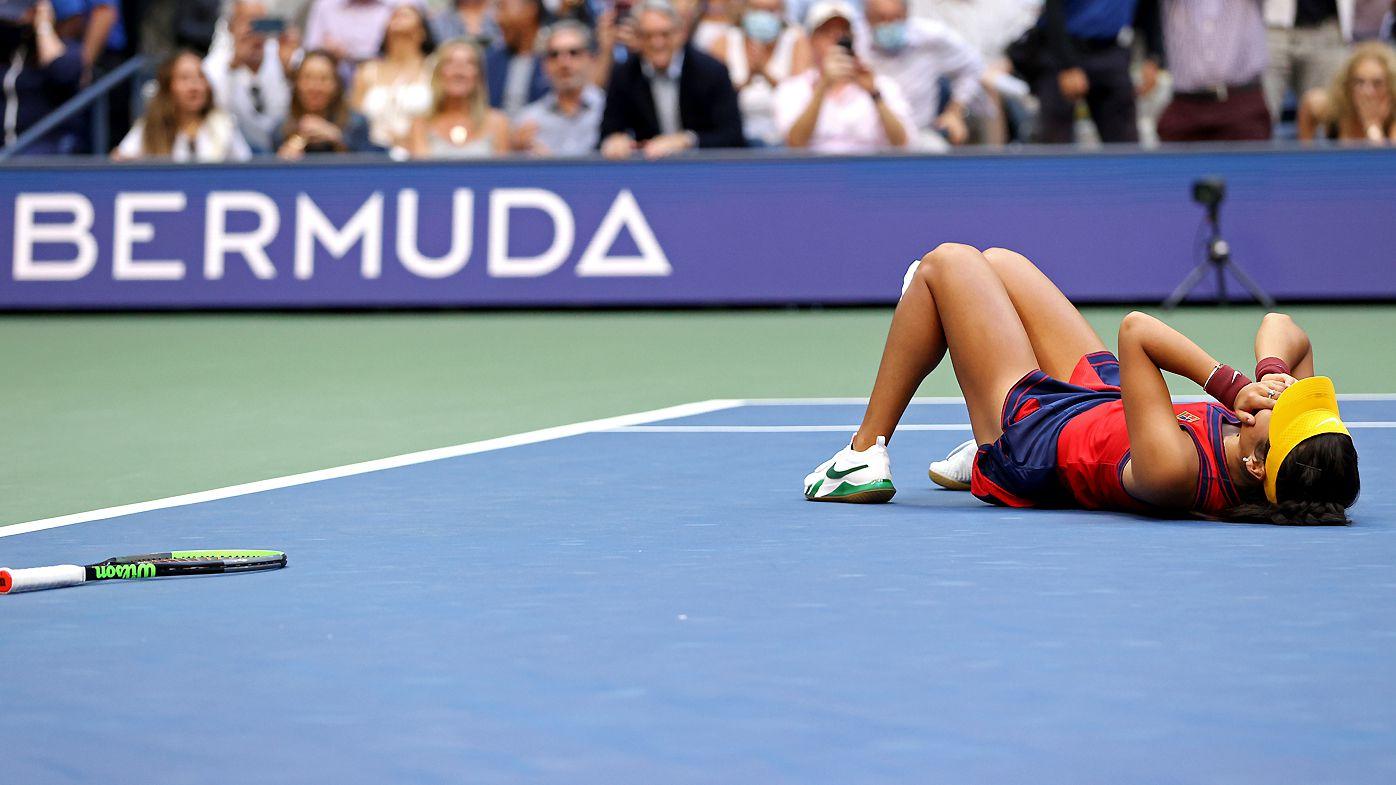 Emma Raducanu of Great Britain celebrates winning match point