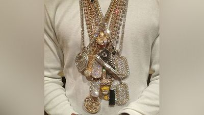 """His mansion is filled with material items he collects and he revealed """"I wear every single chain when I'm in the mansion"""".<br><br>Forbes reported that $7.1 million worth of his jewellery was stolen from his home last year."""