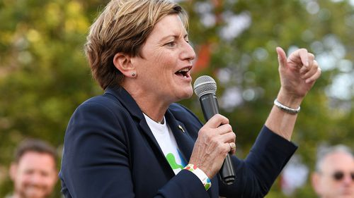 Christine Forster, City of Sydney councillor, addresses the crowd at a street party following the announcement of the same sex marriage vote result, at Taylor Square, in Sydney. (AAP)