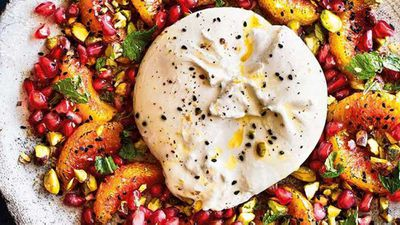 "Recipe: <a href=""http://kitchen.nine.com.au/2017/10/04/10/37/burrata-and-burnt-orange-salad-with-pistachios-mint-and-pomegranate"" target=""_top"">Burrata and burnt orange salad</a>"