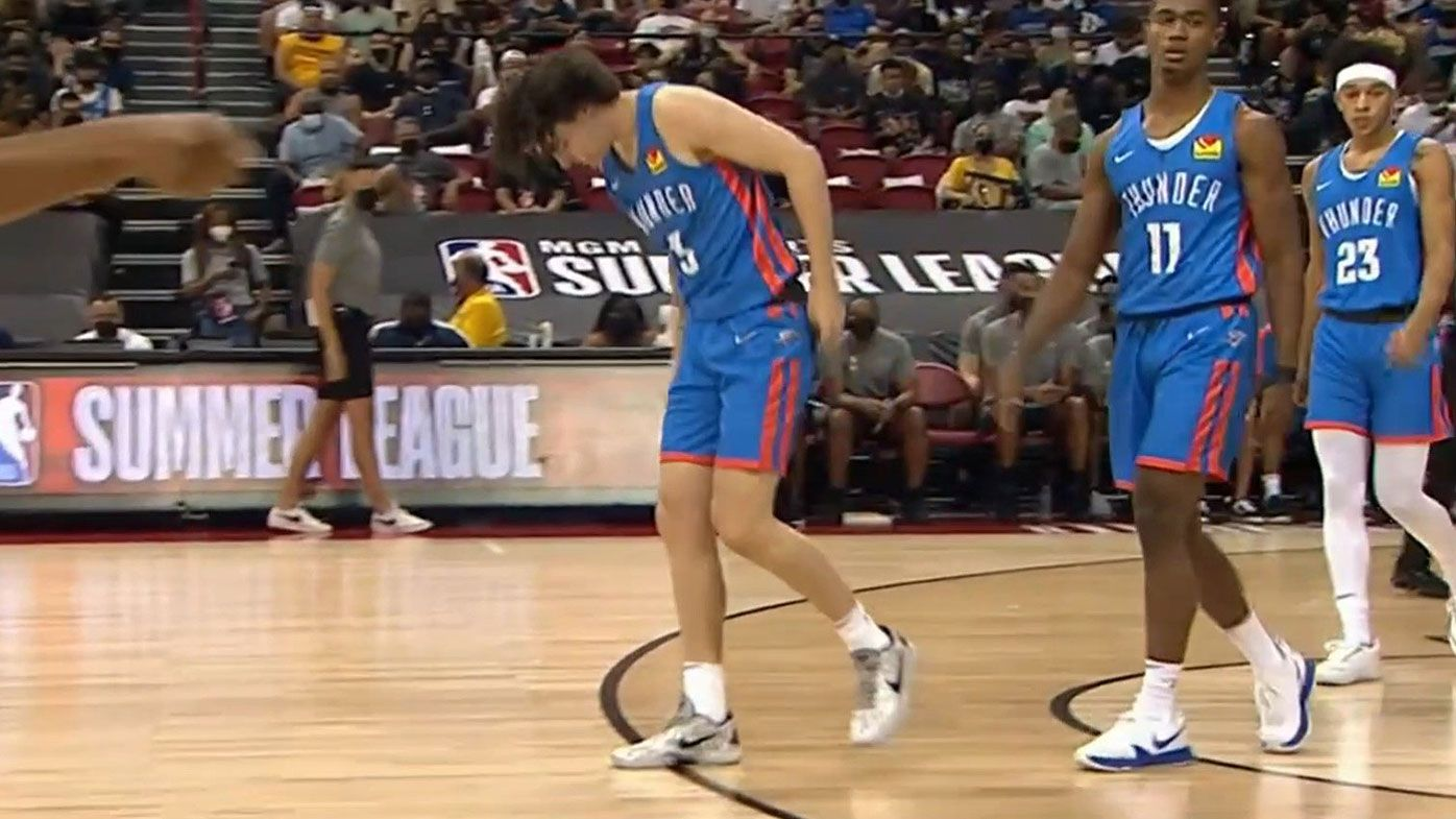 Australian Josh Giddey goes down with ankle injury during NBA Summer League