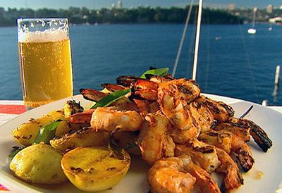 Barbecue tandoori prawns