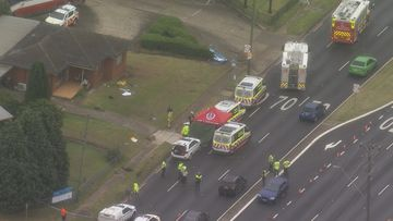 A pedestrian was hit by a car on the Hume Highway in Casula today.