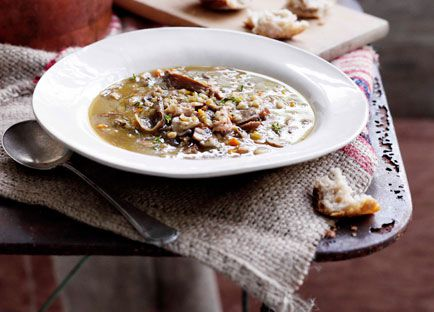 Mushroom and barley broth with smoked bacon