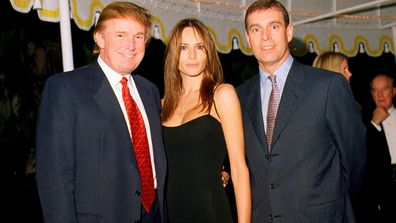 Donald Trump, his then-girlfriend Melania Knauss, and British Prince Andrew, Duke of York, at the Mar-a-Lago estate, Palm Beach, Florida, February 12, 2000.