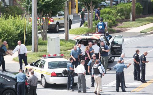 Around 300 local, state and Federal police officers attended the scene of the shooting, cornering Ramos within two minutes. Picture: AAP.