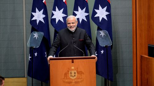 Indian Prime Minister Narendra Modi addresses a joint sitting of Australian Parliament in the House of Representatives. (AAP)