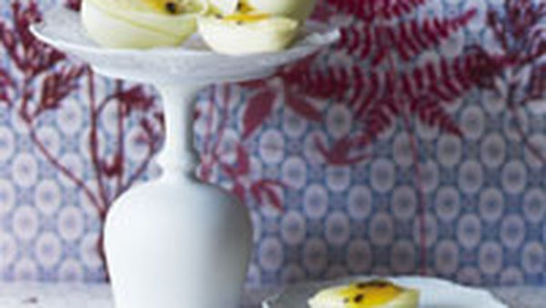 White chocolate and passionfruit mousse eggs