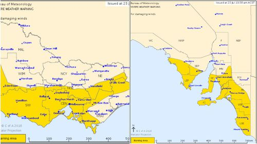 The Bureau of Meteorology has issued severe weather warnings for parts of South Australia and Victoria. Image: BoM