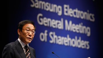 Kim Ki-nam, president and co-chief executive officer of Samsung Electronics Co.'s semiconductor division, speaks during the company's annual general meeting at a company's office building in Seoul, South Korea.
