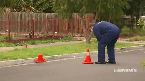 The two attackers remain at large as police and forensics officers investigated the scene today. Picture: 9NEWS.