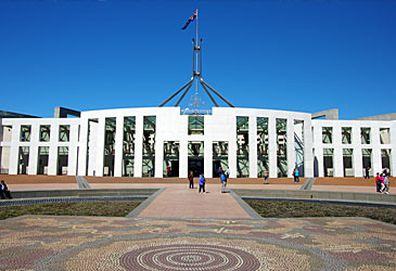 Parliament House forecourt and entrance (Getty)