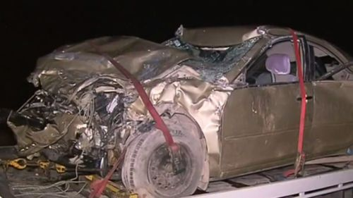 Mr Scott's mangled car following the deadly crash. (9NEWS)