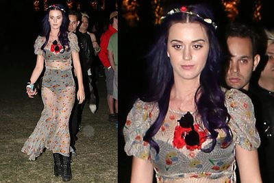 Rocking the nanna undies underneath a dress made out of Nanna's net curtains.<br/><br/>Woodstock wannabes: Hollywood stars dress up to look dressed down as they mingle with the crowd at US music festival Coachella.