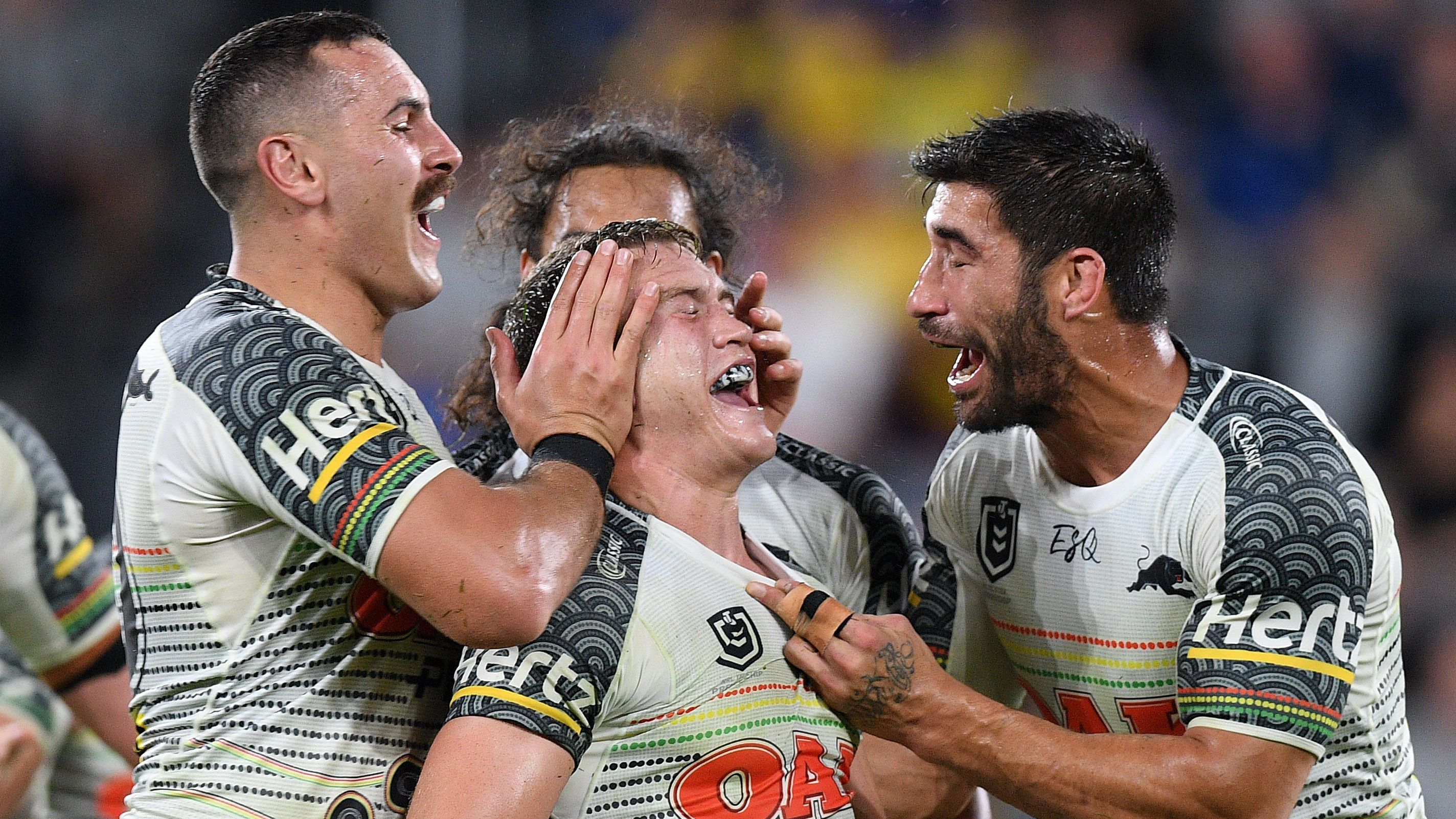 The Penrith Panthers celebrate.