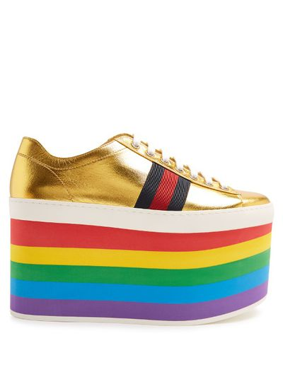"Gucci platform trainers $1035 at <a href=""http://www.matchesfashion.com/au/products/Gucci-Peggy-low-top-rainbow-platform-trainers--1074583"" target=""_blank"">Matches</a><br>"