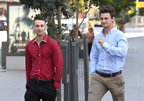 Friends of the accused,  Hayden Buchanan and Luke Appleton, were in court to hear Mr McEwan enter his not guilty plea. Picture: AAP
