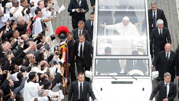 Pope Francis leaves at the end of the Canonization Mass in which John Paul II and John XXIII were declared saints. (Getty)