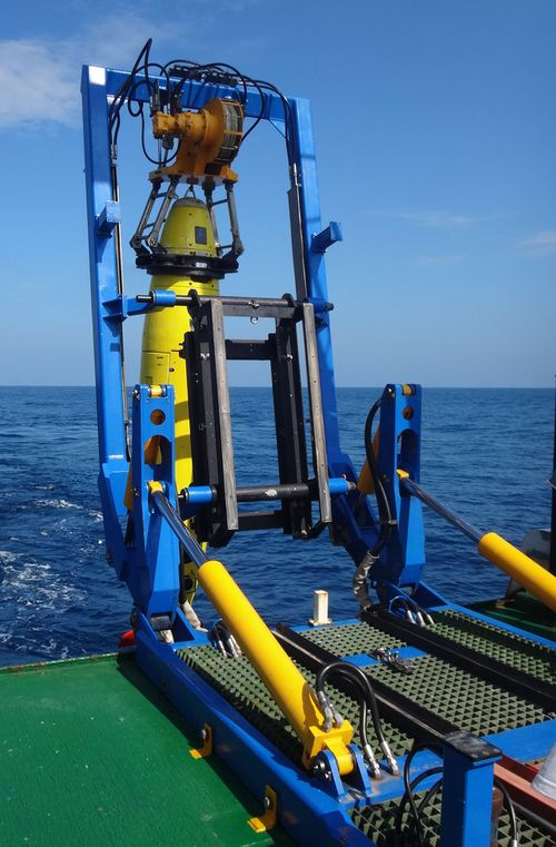 REMUS 6000 being deployed off the Colombian Navy research ship ARC Malpelo. (Mike Purcell, Woods Hole Oceanographic Institution)